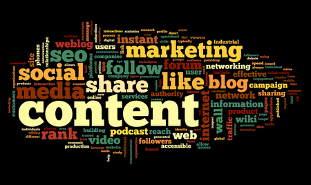 Content and Social media concept in word tag cloud on black