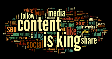 Content is king concept in word tag cloud on black  photo