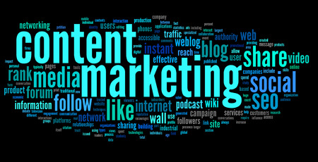 Content marketing concept in word tag cloud on black  photo