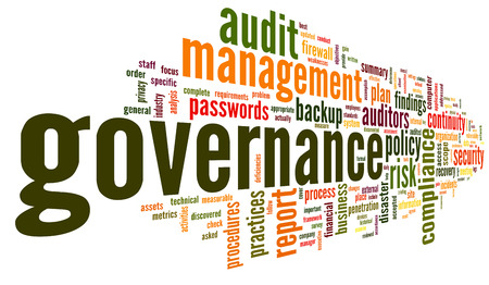 Governance and compliance in word tag cloud on white photo