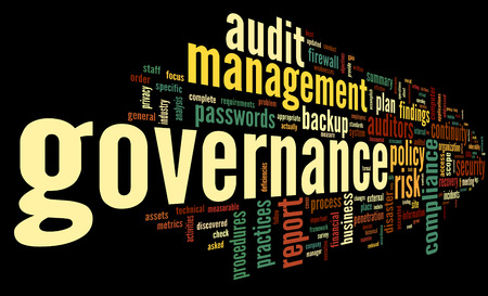 Governance and compliance in word tag cloud on black