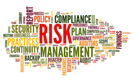 Risk and compliance in word tag cloud on white Stock fotó - 29260410