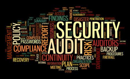 Auditoría de seguridad en la palabra nube de etiquetas en negro Foto de archivo