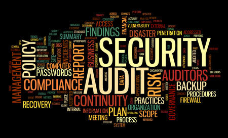 Security audit  in word tag cloud on black Banco de Imagens