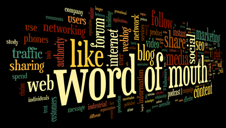 Word of mouth marketing in word tag cloud on white