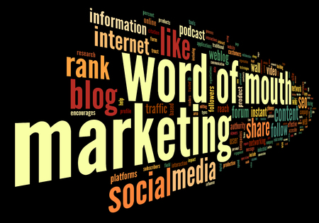 word of mouth: Word of mouth in social media in word tag cloud on black