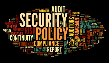 Security policy  in word tag cloud on black Stock Photo