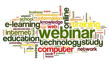 webcast: Webinar in word tag cloud on white background Stock Photo