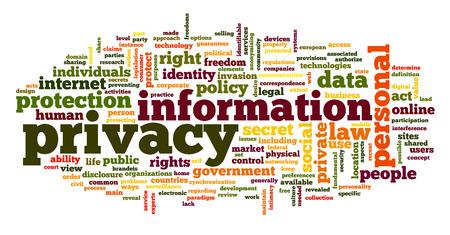 elementos de protección personal: Información de la privacidad en la etiqueta de nube de palabras en el fondo blanco