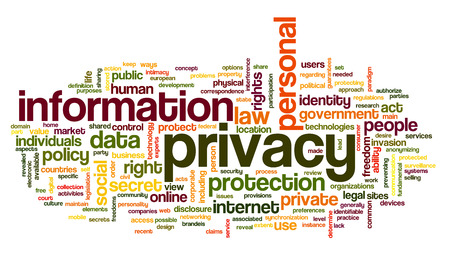 word cloud: Information privacy in word tag cloud on white background Stock Photo