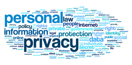Personal privacy in word tag cloud on white background