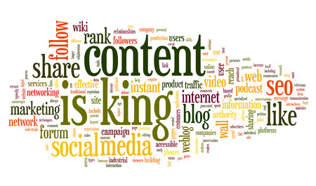 wiki: Content is king concept in word tag cloud on white background