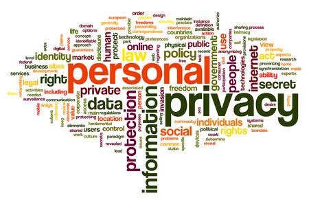elementos de protección personal: La privacidad personal en la etiqueta de nube de palabras en el fondo blanco Foto de archivo