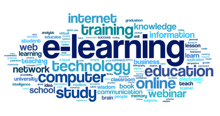E-learning concept in word tag cloud on white Stock fotó