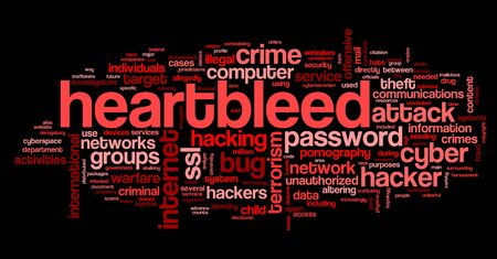 Heartbleed attack concept in word tag cloud isolated on black background