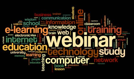 webcast: Webinar in word tag cloud on black background Stock Photo