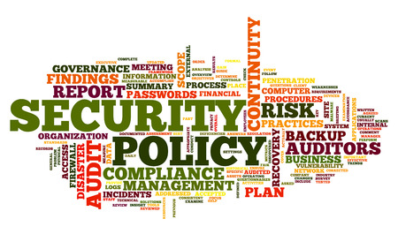 tag cloud: Security policy  in word tag cloud on white