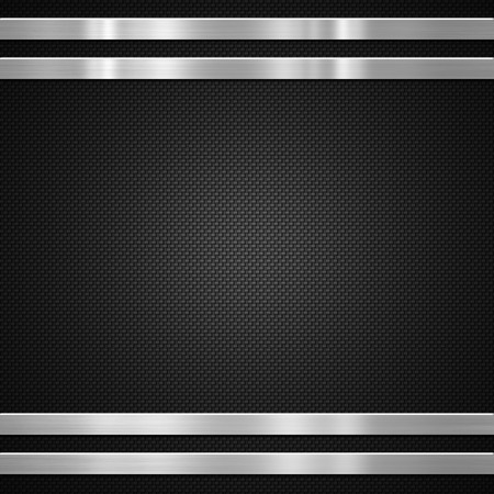 Metal bars on carbon fibre background or texture Stockfoto