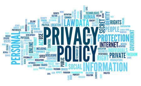 privacidad: Política de privacidad en la etiqueta de nube de palabras en el fondo blanco Foto de archivo