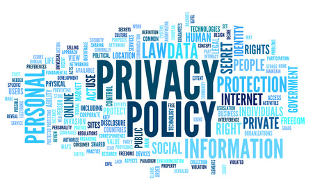 Privacy policy in word tag cloud on white background Banco de Imagens