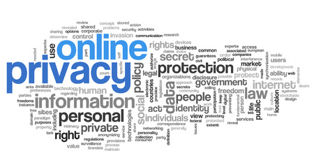 Online privacy in word tag cloud on white background Stock Photo