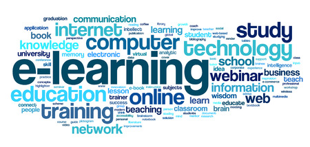 E-learning concept in word tag cloud on white Banco de Imagens