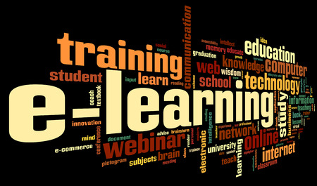 E-learning concept in word tag cloud on black Stock Photo