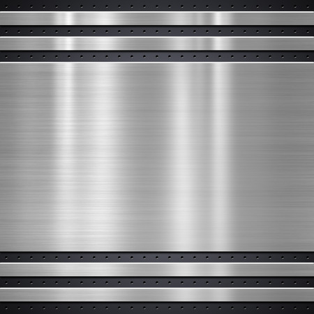 Metal plate on metal mesh background or texture Stock Photo