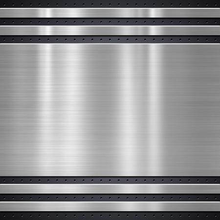 Metal plate on metal mesh background or texture Stockfoto
