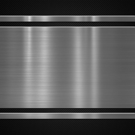 fibre: Metal plate on carbon fibre background or texture