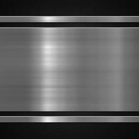 Metal plate on carbon fibre background or texture