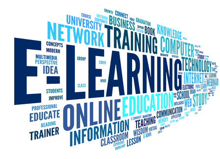 conceptual symbol: E-learning concept in word tag cloud on white Stock Photo