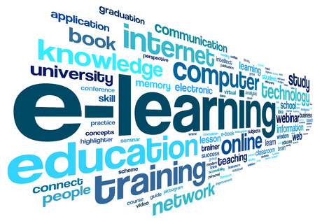 E-learning concept in word tag cloud on white 写真素材