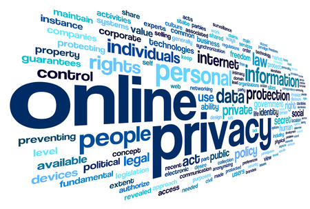 online privacy: Online privacy policy in word tag cloud on white background