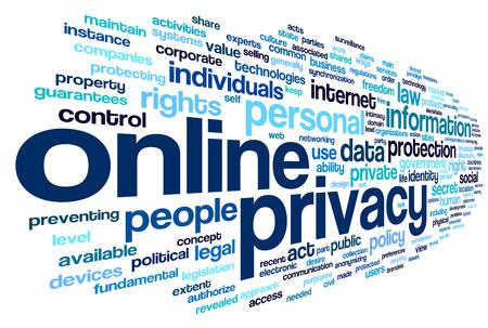 tecnologias de la informacion: Política de privacidad en línea en la etiqueta de nube de palabras en el fondo blanco