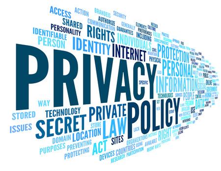 elementos de protección personal: Política de privacidad en la etiqueta de nube de palabras en el fondo blanco Foto de archivo