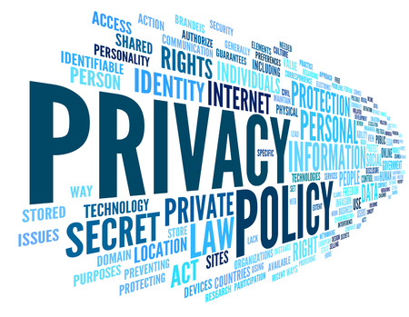 cloud computer: Privacy policy in word tag cloud on white background Stock Photo