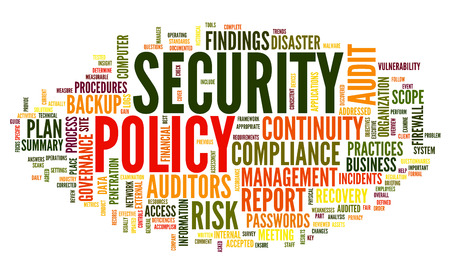 Security policy  in word tag cloud on white