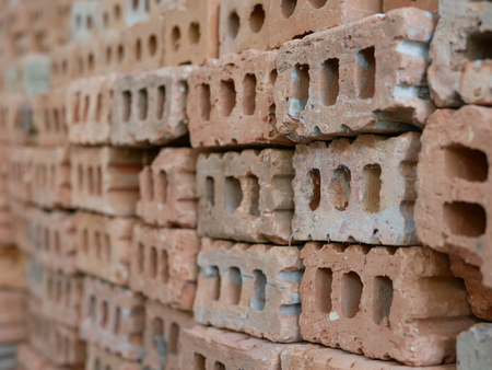 Selective focus of clay bricks used in house construction