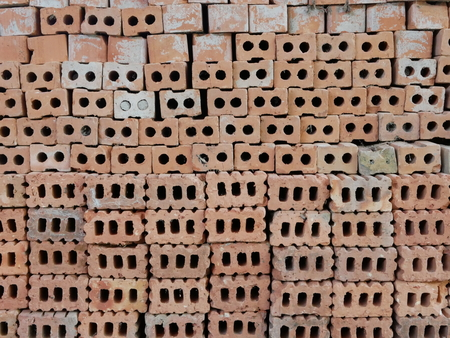 Clay bricks used in house construction Stok Fotoğraf - 107426094