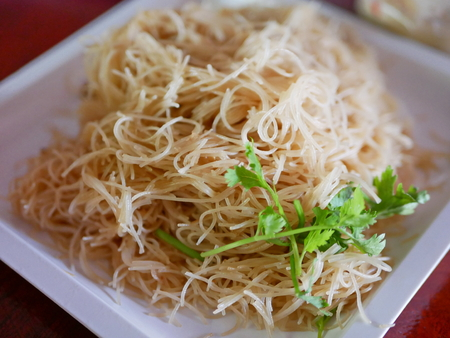 Close up of stir-fried vermicelli with soy sauce - delicious street food in Thailand