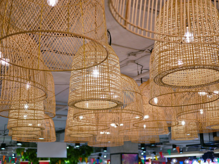 Bamboo hanging lamps used for a decoration in a building providing lighting and beauty