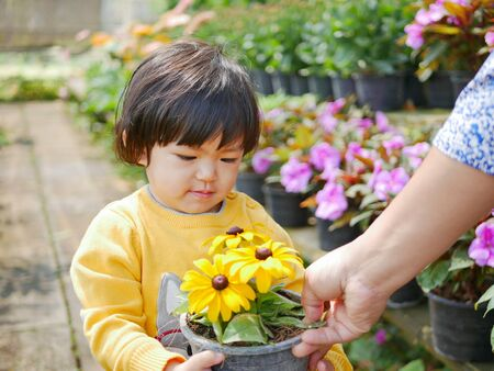 Happy little Asian baby girl receiving / taking a pot of refreshing yellow flowers from her mother - engaging with nature provides positive impact on children's health and development Stock Photo