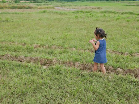Little Asian baby girl enjoys walking in a field in a rural area - getting outside and engage with nature provides positive impact on baby's health and development