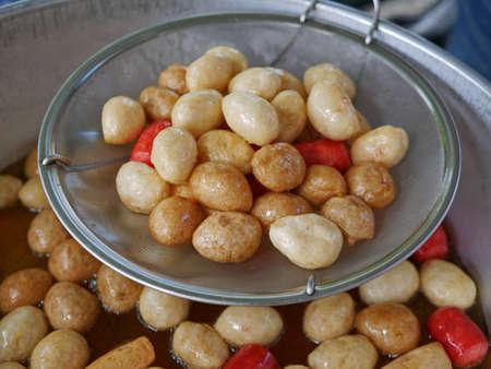 Deep fried meat balls in a frying pan 免版税图像