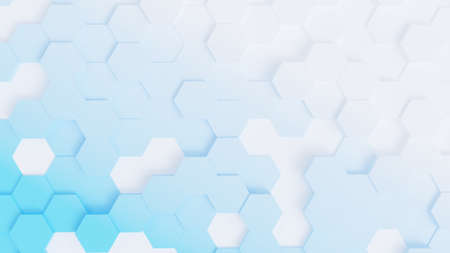 Abstract background, hexagons in different heights, top view, light blue and white diagonal gradient, 3D rendering