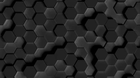 Abstract background, hexagons in different heights, top view, black, dark, 3D rendering 免版税图像
