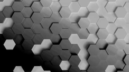 Abstract background, hexagons in different heights, top view, grey scale gradient, 3D rendering