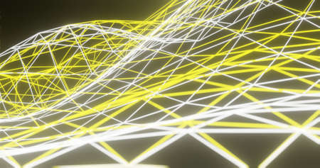 Abstract background, glowing white and yellow polygon net / connection, on dark space - 3D rendering 免版税图像