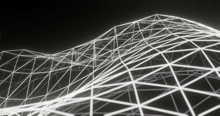 Abstract background, glowing grey and white polygon net / connection, on dark space - 3D rendering